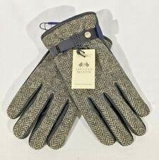 Abraham Moon Sterling Black Leather & Wool Herringbone Gloves