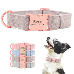 Personalized Nylon Dog Collars Adjustable Custom Engraved Name ID Buckle S M L