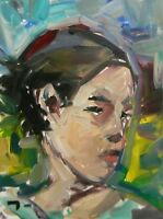 JOSE TRUJILLO - Impressionism Portrait Young Woman Expressionist Collectible COA