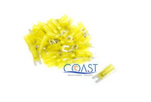 Xscorpion HSST8Y—12/10 Gauge Heatshrink Spade Terminal #8 Size in Yellow (50 PCS