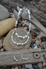 Handmade earring, bracelet & necklace set with Sterling Silver & White Jade