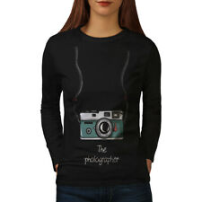 Wellcoda Photographer Womens Long Sleeve T-shirt, Digital Camera Casual Design