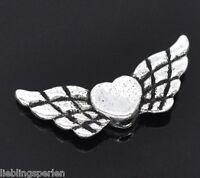 150 Antiksilber Herz & Flügel Schutzengel Spacer Metallperlen Beads 22x9mm