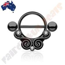 316 Surgical Steel Hematite Ion Plated Nipple Shield Lace Swirls and Clear Gems