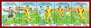 Rumänien 1996 Fussball Europameisterschaft, Fünferstreifen, Mi 5180-5184 ** MNH