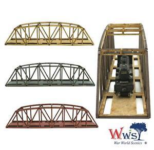 WWS Single Track N-Gauge Red MDF Railway Camelback Bridge 200mm