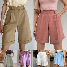 Womens Fashion Shorts High Waist Loose Knee Length Ladies OL Casual Short Pants