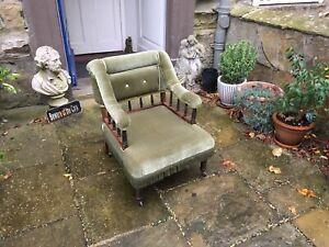 Victorian mahogany framed armchair in green velvet