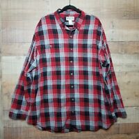 Duluth Trading Men's Red Plaid Flannel Long Sleeve Button-Down Shirt 2XL Tall