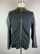 DIESEL L-GROHL BLACK LAMBS LEATHER & COTTON BOMBER JACKET SIZE M RRP £325 BNWT