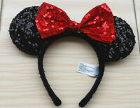 New Disney Parks Minnie Black and Red Bow Sequins Ear Plush Headband Cute Ears