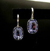 2Ct Cushion Cut Blue Tanzanite Vintage Dangling Earrings 14k White Gold Over