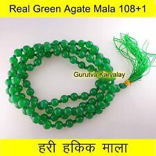 Green Agate Mala 108+1 Beads Hari Hakik Mala Green Agate Rosary Akik Mala 6mm