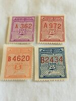 Lot of 4 US Mint Never Hinged MNH Western Union Telegraph Stamps 5 & 25 cents