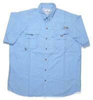 Columbia PFG Mens XL Button Down S/S Omni-Shade Blue Mesh Vented Fishing Shirt