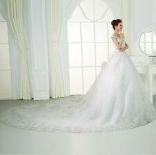 2017 V Neck Wedding Dresses Luxury Sweetheart crystals cathedral bridal gown New