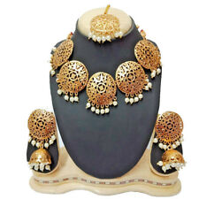 Indian Ethnic Fashion Jewelry Bollywood Necklace New Gold Jumki Bridal  Set