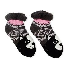 Fuzzy Babba Womens Long Slipper Socks Black Pink Bulldog Dog Puppy One Size