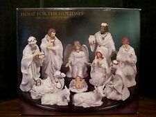Home For The Holidays White Porcelain Christmas Nativity 12 Piece Set