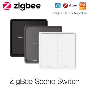 4Gang Tuya ZigBee Wireless 12Scene Switch Push Button Controller For Google App>