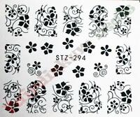 Black Floral Nail Art Stickers Water Decals-Sheet No. STZ-294