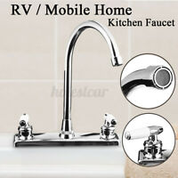 UK Home RV Hot/Cold Kitchen Faucet Dual Handle Holes Basin Mixer Water Tap U