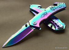 RAINBOW SPIDER DESIGN TACTICAL TACFORCE SPRING ASSISTED KNIFE - 4.5 INCH CLOSED
