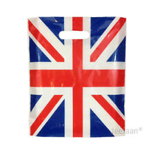 """200 Union Jack Plastic Carrier Bags 15""""x18""""+3"""" Gift Party Carry Patch Handle"""