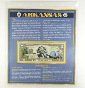 2013 Arkansas State Overlay' Limited Edition $2 FRN Note Colorized *375