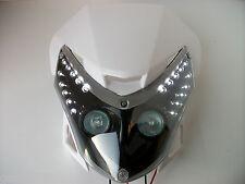 White Motorcycle Streetfighter Enduro Headlight Alien Led Pods Gsx Zxr Cbf Yzf