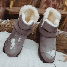 Women Anti-Skid Suede Snow Boots Fur Line Ankle Shoes Winter Warm Short Flats