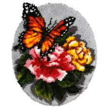 Floral Butterfly Latch Hook Kit Rug Making Kit  Orchidea, 49x61cm Printed canvas