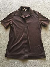 """Vintage Sears """"The Shirt� Polyester Blouse Brown Fitted Womens 10 1970s 1960s"""