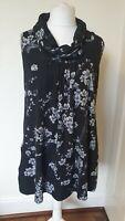 Izabel London Cowl Neck Floral Thin Knit Tunic Dress Size 12