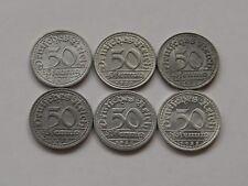 WEIMAR: Komplettsatz 50 Pfennig 1922, J. 301, A-D-E-F-G-J, stempelglanz !!!