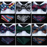 Hisdern Mens Self Tie Bow Ties Set Butterfly Polka Dot Striped Handkerchief #G71
