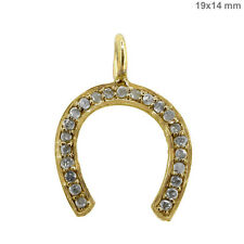 Natural Diamond Pave HORSE SHOE Charm Pendant Solid 14k Yellow Gold Fine Jewelry