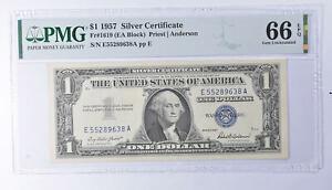 $1 1957 Silver Certificate PMG 66 EPQ Gem New, Fr# 1619 (EA Block) *833