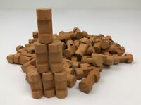 """Lot of 90 Wooden LINCOLN LOGS Bulk Parts Small Pieces 1.5"""" Light Brown 1 Notch"""