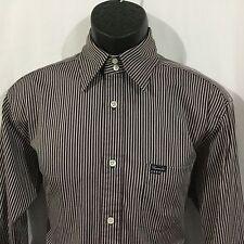 Faconnable Dress Shirt Mens Size S L/S Burgundy Gray White Stripe 100% Cotton
