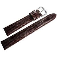 19mm deBeer Mens Brown Lizard-Grain Leather Watch Band Strap