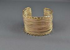 Gold cuff bracelet chain link skinny chains wide bangle metal hammered