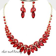 HIGH QUALITY RED GLASS CRYSTAL FORMAL CHUNKY FASHION NECKLACE JEWELRY SET