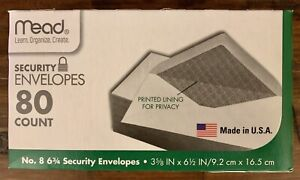 "Mead Security Envelopes No. 8  3 5/8"" X 6 1/2"" 80 Count Brand New Free Shipping!"
