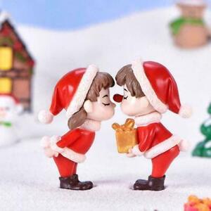 1Pcs Christmas Theme Adorable Couple Desktop Micro N2K8 Toys Landscape G4X 1Y5T