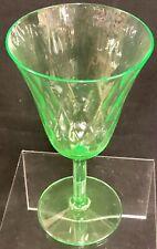 """Antique 6"""" Vaseline Uranium Green Depression Glass Stemmed Water Goblet Vintage"""