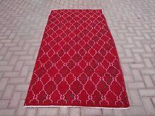 4x7 ft Vintage Antique Turkish Anatolia Red Geometric Handwoven Runner Rug