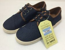 TOMS Paseo Blue Denim / Textile Shoes Sneakers Youth Size US 5 UK 4 EUR 37 CM 24