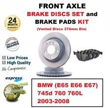 Für BMW 745d 760 760L 2003-2008 Vorderachse Bremsscheiben und Bremsbeläge 374mm