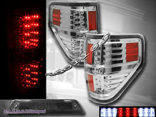 2009-2014 Ford F150 XL XLT STX FX4 Pickup Tail Lights Chrome + 3rd Brake Light